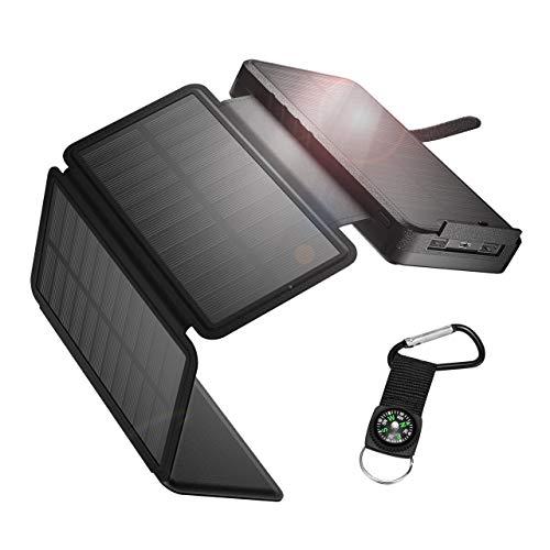 IEsafy Solar Powerbank 26800mAh Solar Ladegerät Outdoor mit 4 Solarpanel Externer Akku Taschenlampe Kompass geeignet für Handy Tablet Smartphone (Schwarz)