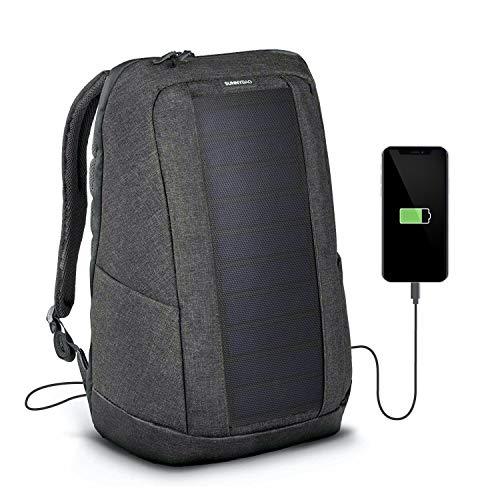 SUNNYBAG Iconic Solar-Rucksack mit integriertem 7 Watt Solar-Panel | USB-Anschluss | Wireless-Charging | 17-Zoll Laptopfach | 20 Liter | Wasserabweisendes Recycling-Textil | Graphite