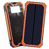 Friengood Solar-Ladegerät, 15000 mAh, tragbare Solar-Powerbank mit Zwei USB-Ports, Solar-Externer Akku, Handy-Ladegerät mit 6 LED-Taschenlampen, für iPhone, iPad, Samsung und mehr (orange)