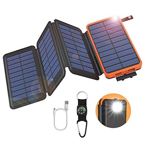 GOODaaa Solar Powerbank 25000mAh, Solar Power Bank Outdoor mit 3 Ausgängen, Solar Ladegerät mit Taschenlampen-Kompass für Handy Tablet Smartphone, Alle USB-Geräte(Orange)