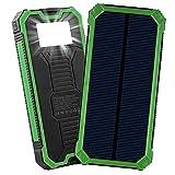 Friengood Solar-Ladegerät, 15000 mAh, tragbare Solar-Powerbank mit Zwei USB-Ports, Solar-Externer Akku, Handy-Ladegerät mit 6 LED-Taschenlampen, für iPhone, iPad, Samsung und mehr (grün)