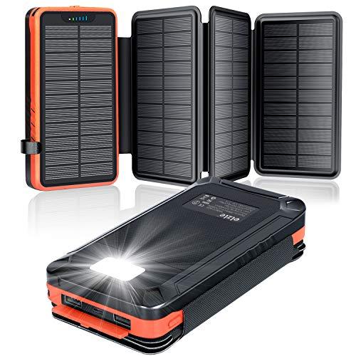 elzle Solar PowerBank 26800mAh, Solar Ladegerät mit 4 Sonnenkollektoren, Taschenlampe, Zwei 5V 2.1A USB-Ports Externer Akku Kompatibel Für Smartphones, Tablets Outdoor Camping Ladegerät Orange
