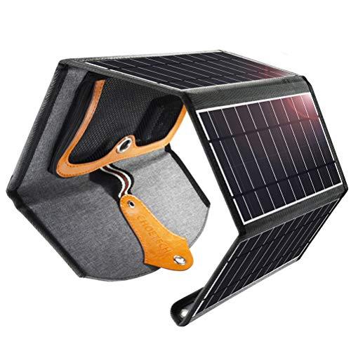 CHOETECH Solar Ladegerät, 22W Solarpanel Tragbar Wasserdichtes Solarladegerät Outdoor Kompatibel mit Allen Handys, iPad, Kamera, Tablet, Bluetooth Lautsprecher